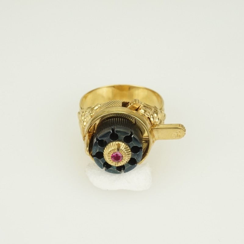 SPY Gold pl. RING 2 mm. Pinfire Gun LIMITED EDITION
